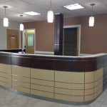 reception desk and column